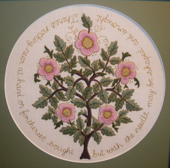 The rose tree of life crewel embroidery kit