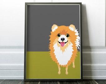 Minimalist Dog Print Wall Art Prints Minimalist Dog Poster Pomeranian Art Modern Art Scandinavian Print Wall Prints Minimalist Dog Art Print