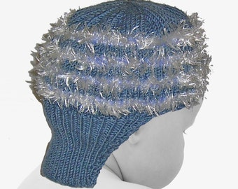 Hand Knit Helmet-Style Baby Boy's Hat - Dusty Blue - 0 to 3 Months