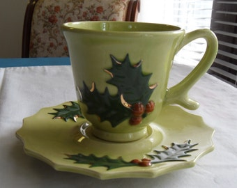 Vintage Green Christmas Cup and Saucer Holly Leaves with Berries Hand Painted 1976