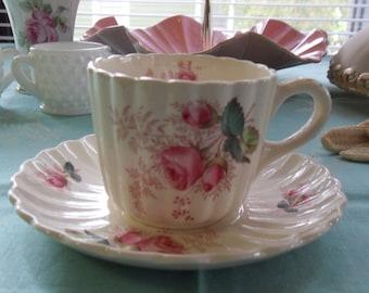 "Copeland Spode Tea Cup ""Dubarry"" England Pink Roses"