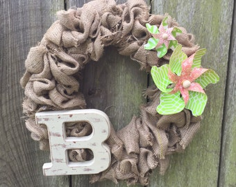 Summer Wreath, Pinwheel Wreath, Burlap Monongrammed Wreath,
