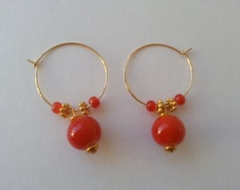 handmade hoop earrings, 22kt gold plated earring hoops