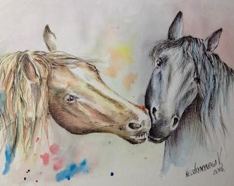 Horses Custom Painting Watercolor Painting Horses Painting Pet Custom Painting Original Watercolor Painting Animal Painting Paper Gift Idea