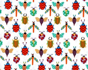 Creepy Crawlies Pesky White Fabric by Michael Miller