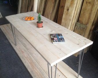Industrial Handcrafted Untreated Reclaimed Wood Kitchen/Dining Table Vintage Hairpin Legs