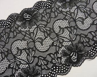 high-quality black elastic lace 17, 5 cm width: 2m