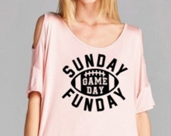Sunday Funday Football cold shoulder tee