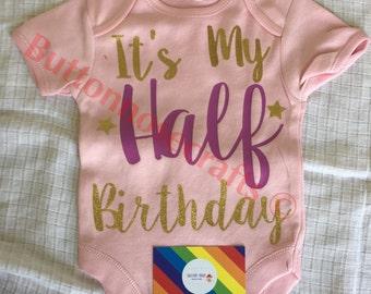 Half Birthday celebration vest 6 months old personalised