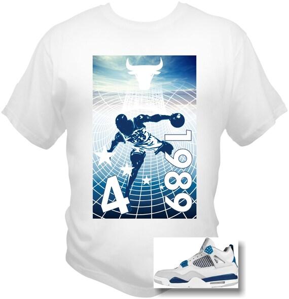 MJordan 4 Cement 4's Michael Jordan T-Shirt 89 RETRO CHICAGO BULLS Alternate blue