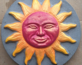 13 Inch Hand-Painted Concrete Sun Stepping Stone