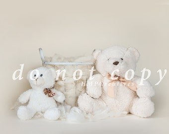 All White Teddy Bear Newborn Digital Backdrop