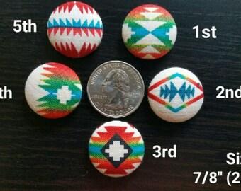 Native Design Fabric Button Earrings