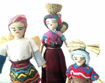 Vintage Guatemalan Doll set // Handmade Dolls // Ethnic Doll Set