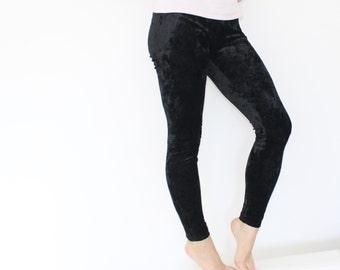 Black Crushed Velvet Leggings Crushed velvet Pants Vintage 80s pants Stretch pants Black velvet leggings Small Medium