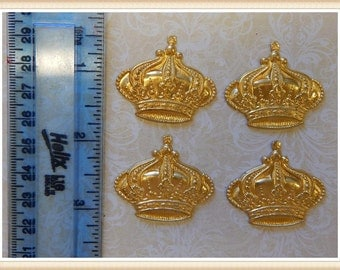 raw brass crown embellishment queen princess stamping E0022