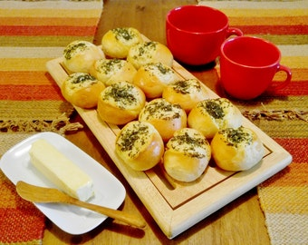 Breakfast Buns With Garlic And Herbs...6 or 12 Pieces...Yeast Dough Buns...Healthy Breakfast Buns..European Family Recipes..Fresh Home Baked