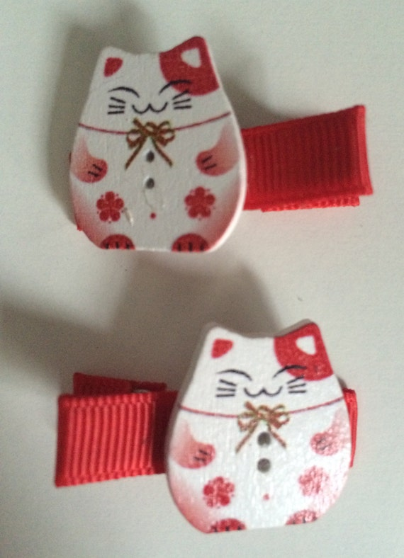 Lucky Chinnese Cat Wooden Hair Slides - Pair in Red