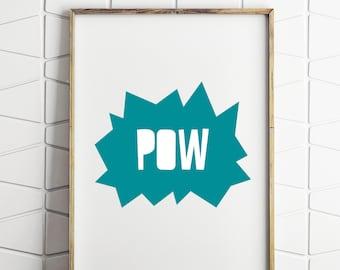 comic wall decor, printable comic art, printable comic decor, blue comic decor, boys room decor, boys wall decor