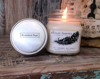 Brandied Pear Soy Candle, All Natural Soy Candle, 8oz, The Bakery @ The Ruffled Feather Candle Co.