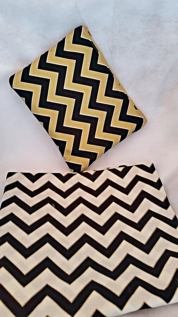Chevron purse, Gold and black Chevron bag, Gold Chevron clutch-available in many colors