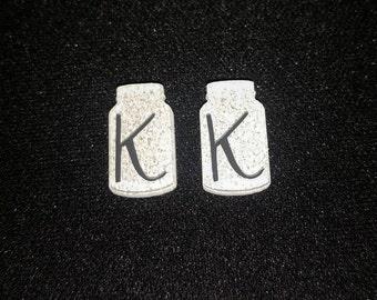 Mason Jar Initial Earrings