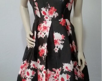Black Floral dress Around Neck No Sleeves