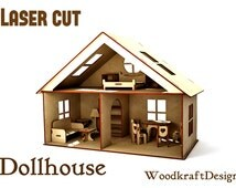Dollhouse Anastasia + furniture   . Vector model for laser cut. Instant download.wooden houses plywood