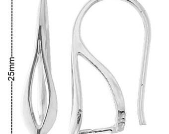 Sterling Silver 25x12mm Earrings Wire Hook With Bail PK2 PK10