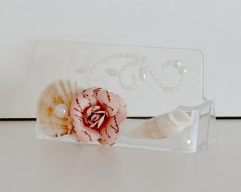 Clear Acrylic Business Card Holder With Sea Shells, Pearls and Pink Rose