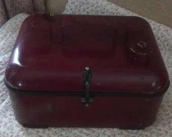 Vintage upcycled boat fuel carrier made into storage box. 1960 s fuel tank.