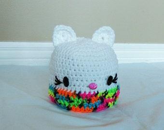 Crochet Kitty Hat, Size 3-6 Months