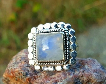 Square Rainbow Moonstone Sterling Ring size 7.5