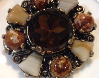 Agate, art glass brooch pin cognac shades