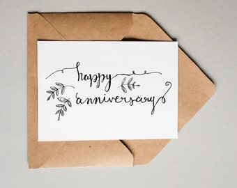 Happy Anniversary // Downloadable and Printable // Digital // Hand Lettered // Greeting Card