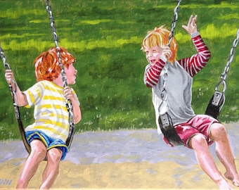 On the Swings - Original Acrylic Painting