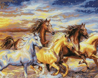Horses near the sea embroidered picture (cross-stitch)