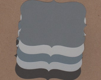 10 - 3 1/2 inch Tall Top Note Die Cuts for Paper Crafts Grays