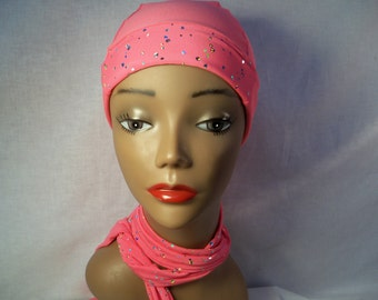Pink snug fit cap and scarf snug fit wear to dress up or dress down