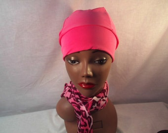 Breast cancer cap and scarf wear around neck and rim of cap