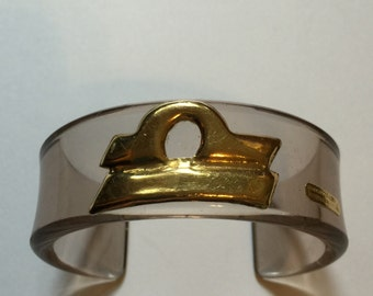 Rarest La Squadra Mancadori 18k Gold Pink Lucite Bracelet Taupe Cuff Designer