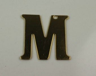 Raw Brass Alphabet Letter M Pre-Drilled Findings