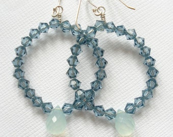 Swarovski Crystal & Aqua Chalcedony earrings - OOAK