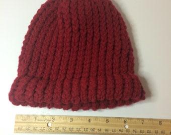 Child's Burgandy Crochet Beanie Winter Hat
