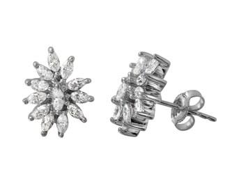 Marquise Diamond Cluster Stud Earrings in 14k White Gold