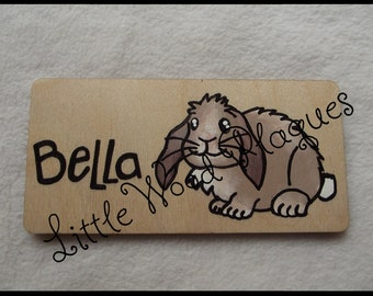 Handmade Wooden Personalised *Lop Eared Rabbit* Sign/Plaque