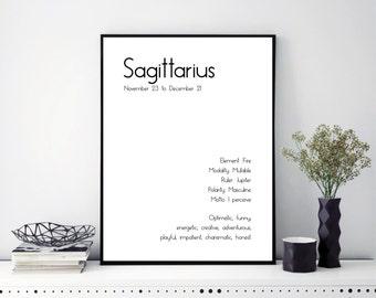 Sagittarius Art Zodiac Art Print Zodiac Print Astrology Art Astrology Wall Art Astrology Gift Sagittarius Wall Art Sagittarius Star Sign