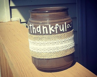 I'm Thankful For- Glass Jar with Leaf  Cutouts