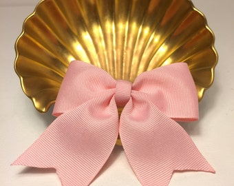 Hand made Ribbon Hair Bow in Pink with tails