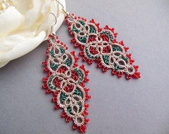 Christmas gift idea, Lace tatting earrings, tatted jewelry, long tatting earrings, seads bead jewelry, handmade jewelry, frivolite.